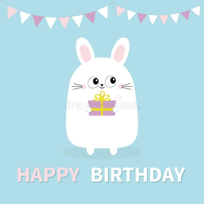 день рождения счастливый Белый кролик зайчика держа подарочную коробку Бумага сигнализирует смертную казнь через повешение Смешна иллюстрация вектора
