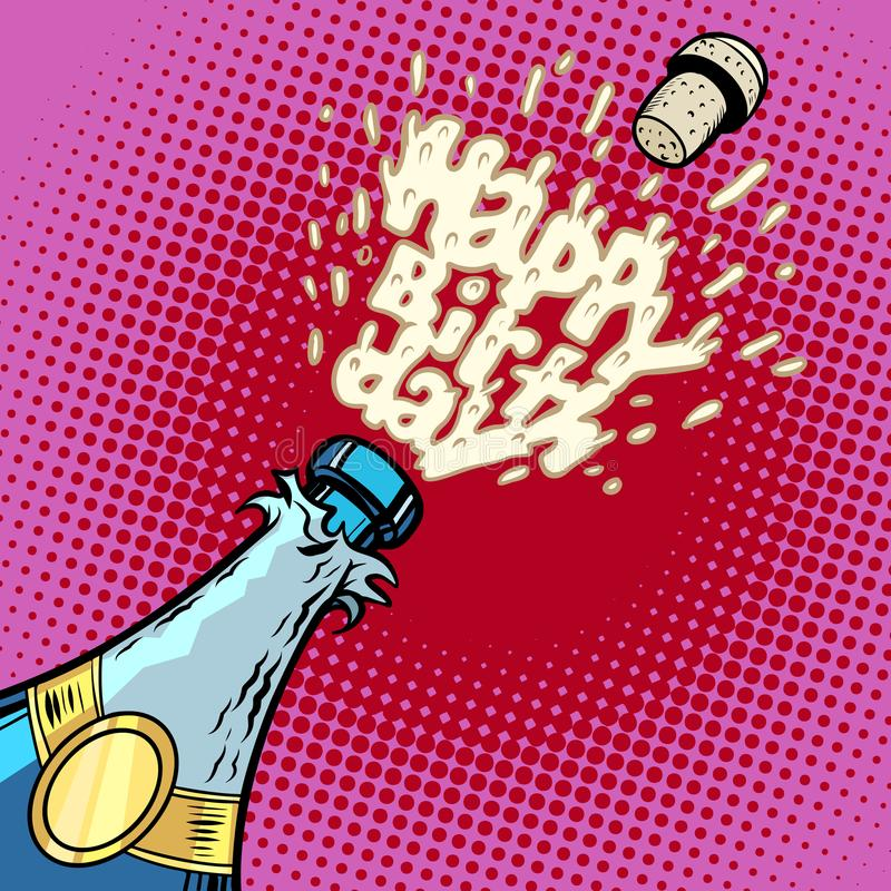 день рождения счастливый Бутылка Шампани раскрывает, пена и пробочка иллюстрация штока