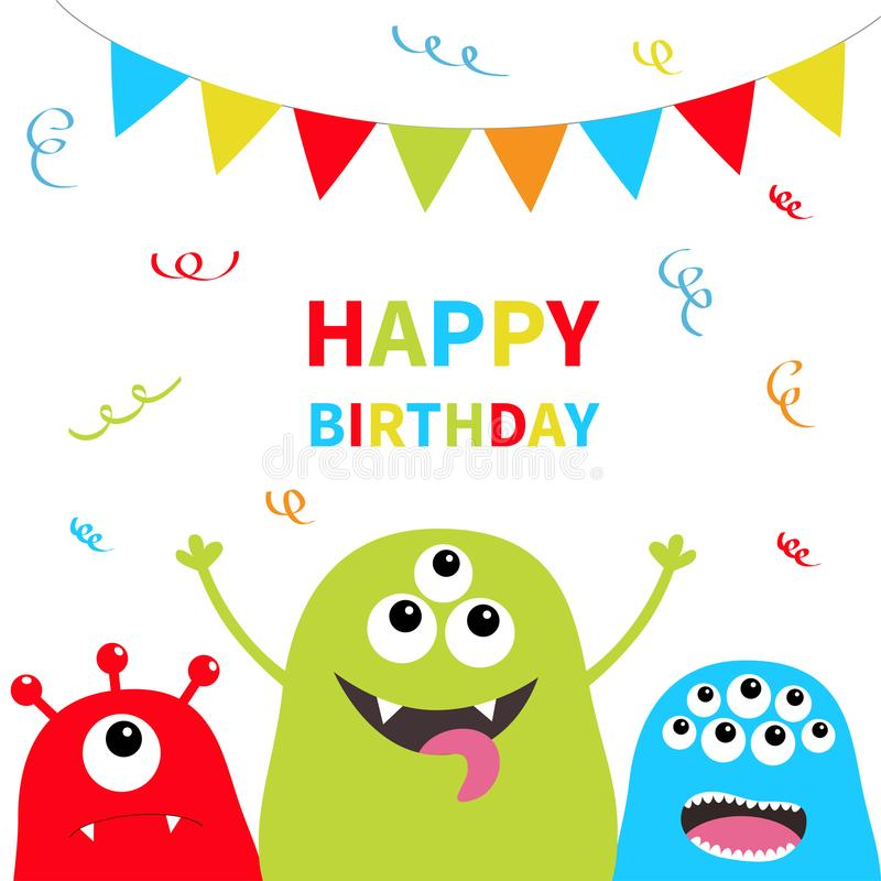 день рождения счастливый Комплект силуэта 3 извергов Головная сторона Флаги бумаги треугольника на веревочке confetti Характер ми иллюстрация вектора