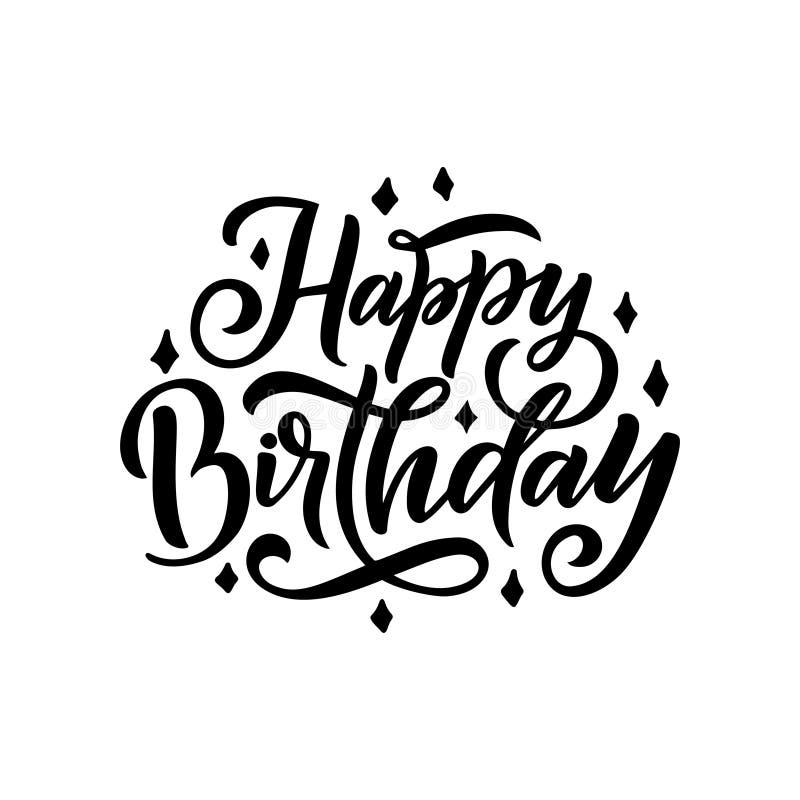 день рождения счастливый Красивая литерность для карточки, слова приветствию текста каллиграфии черные Нарисованная рукой печать  иллюстрация штока