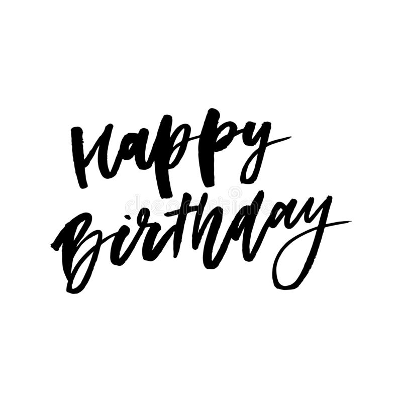 день рождения счастливый Красивая поздравительная открытка поцарапала звезды золота слова текста каллиграфии черные Нарисованная  иллюстрация вектора