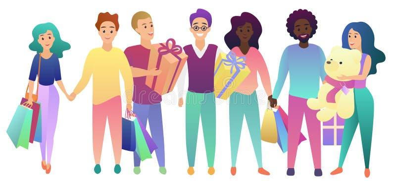 день рождения счастливый Молодые люди собирают с хозяйственными сумками и подарками настоящих моментов Поздравления к вектору дру бесплатная иллюстрация