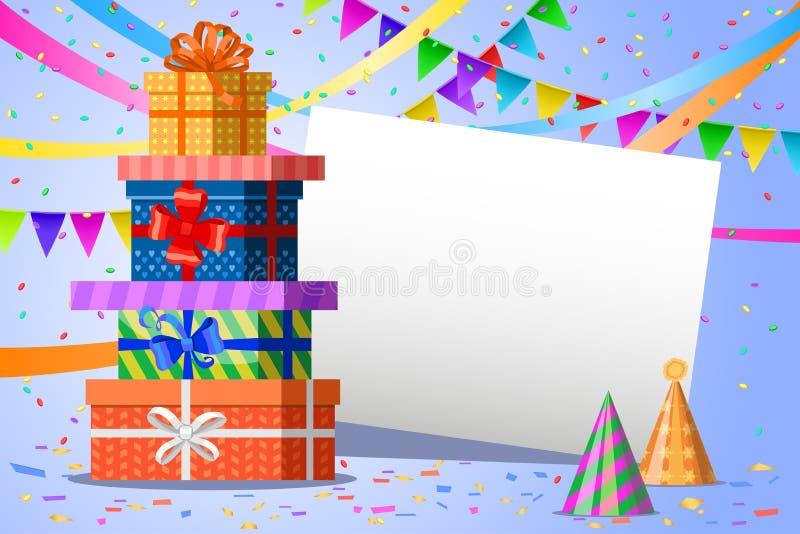 день рождения счастливый Подарочные коробки, гирлянды флагов и белый лист иллюстрация вектора