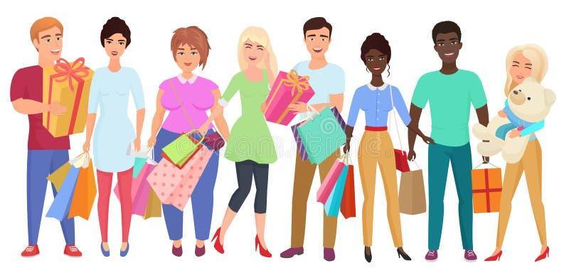 день рождения счастливый Продажа в торговом центре Группа в составе молодые люди друзей с приобретениями и подарками Поздравления иллюстрация штока