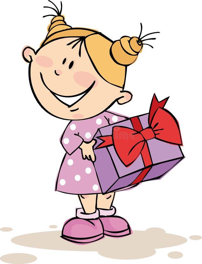 Открытка девочка с подарком 860
