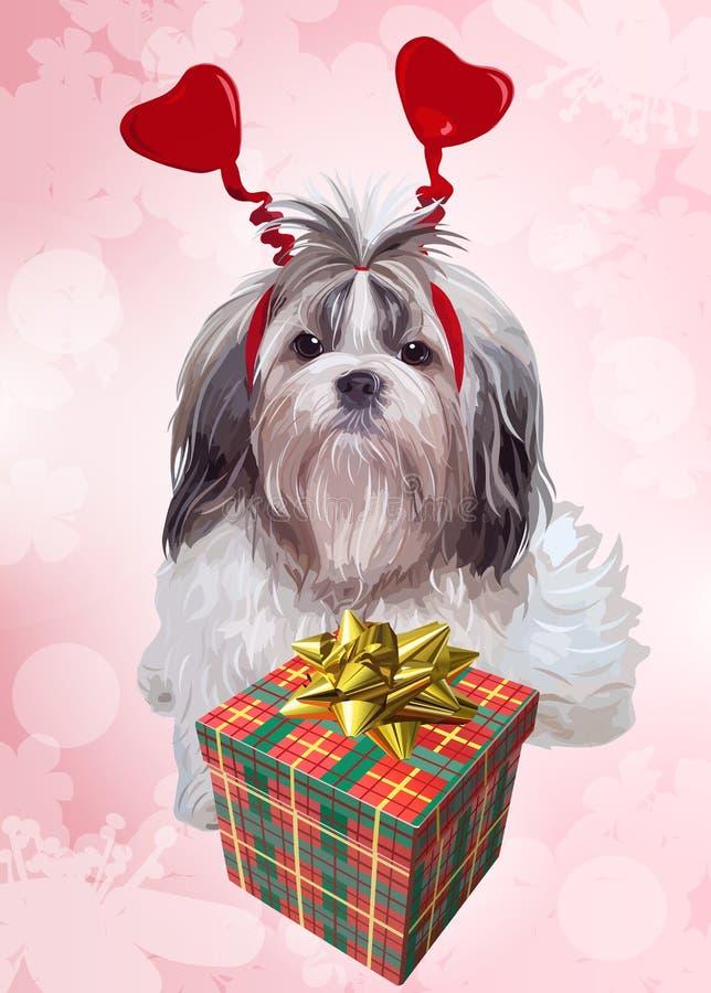 День рождения собаки tzu Shih иллюстрация штока