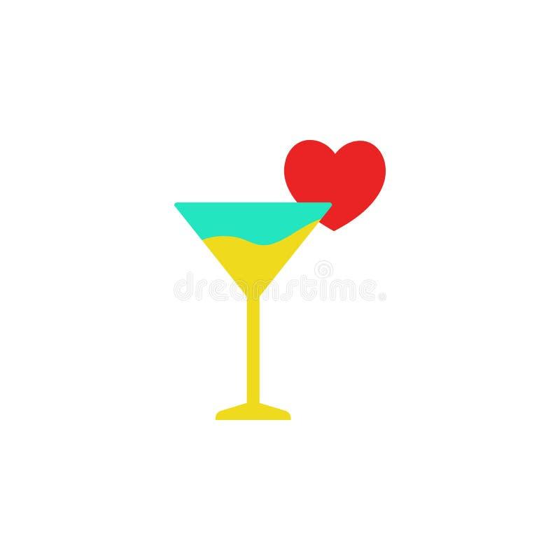 День Святого Валентина, значок Мартини Элемент значка дня Валентайн сети для мобильных приложений концепции и сети Детализированн бесплатная иллюстрация