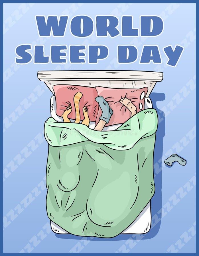 День сна мира Международная открытка праздника   Девушка спать мирно в ее кровати иллюстрация вектора