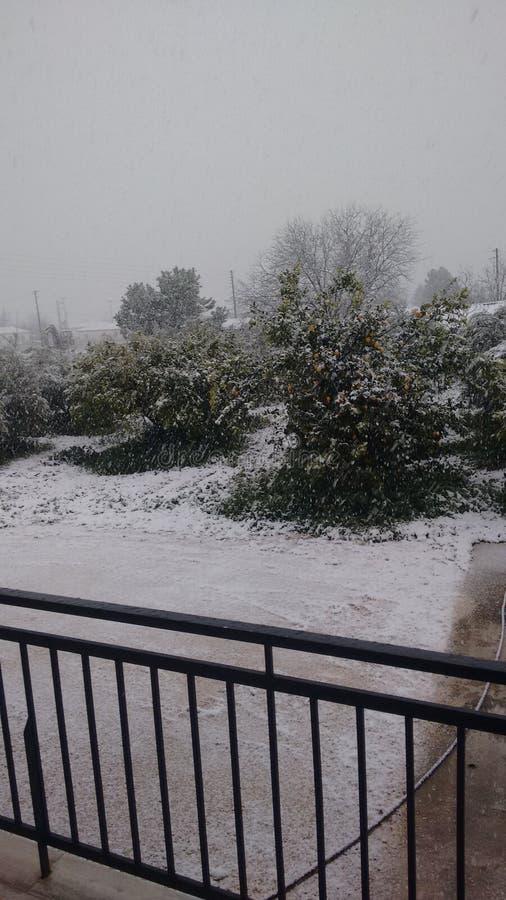 День снега зимы в argolida стоковые фото