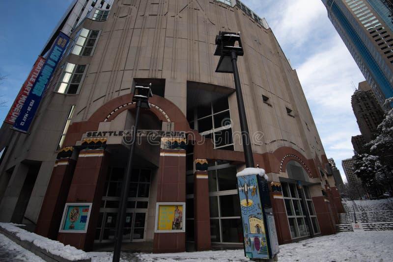 День снега музея изобразительных искусств Сиэтл стоковое фото rf