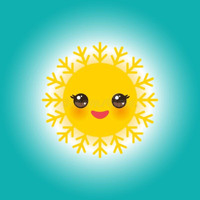 День Солнця мира может 3, солнце Kawaii смешное желтое с щеками милых улыбок розовыми и глаза на небесно-голубой предпосылке вект иллюстрация вектора