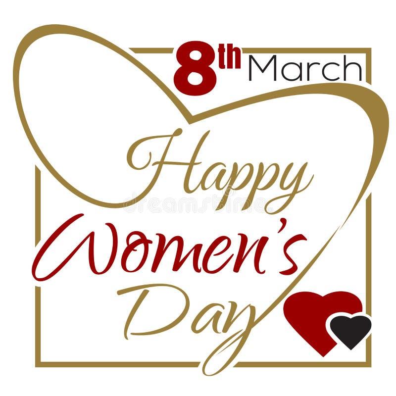 День счастливых женщин 8-ое марта Международный женский день Типографская конструкция иллюстрация штока