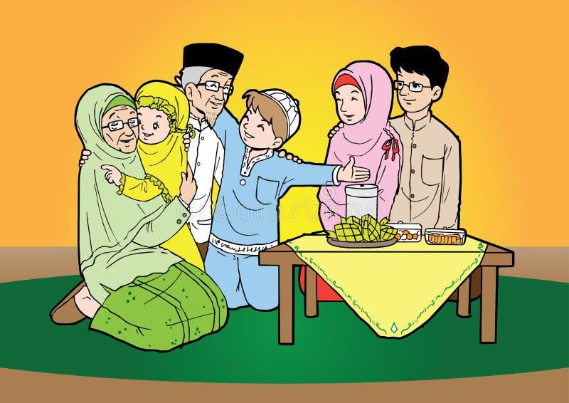 День торжества индонезийской семьи мусульманский иллюстрация штока