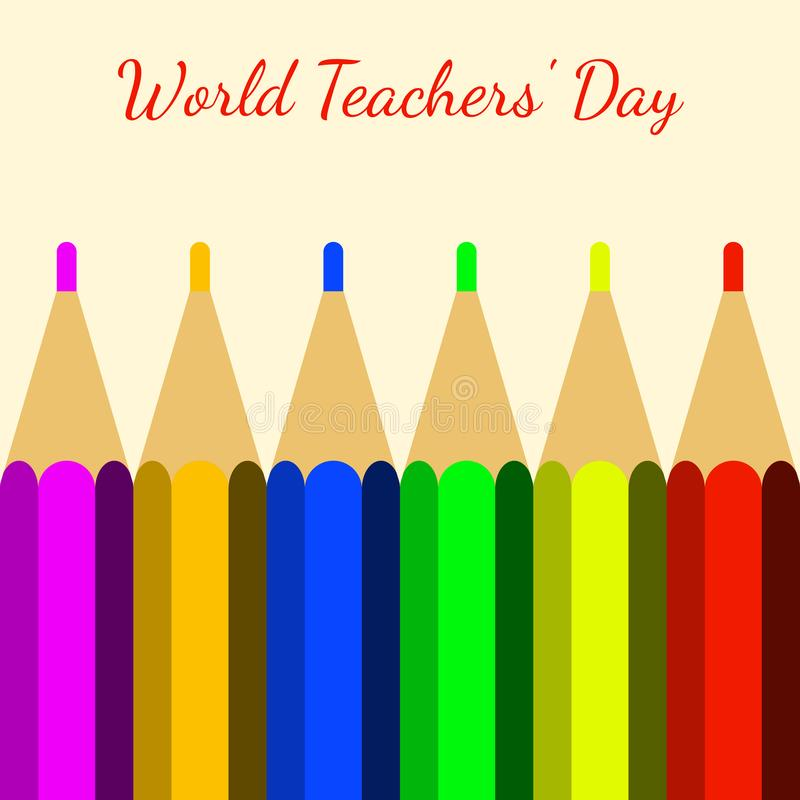 День учителей мира Покрасьте карандаши и имя события бесплатная иллюстрация