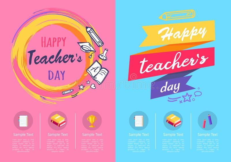 День 2 учителей плакатов на иллюстрации вектора иллюстрация штока