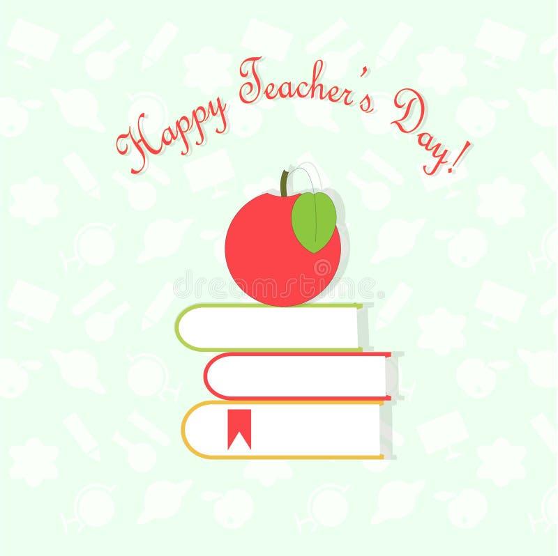 День учителей знамени оформления счастливый, красное яблоко на книгах на предпосылке белого света - голубой и белой картины иллюстрация штока