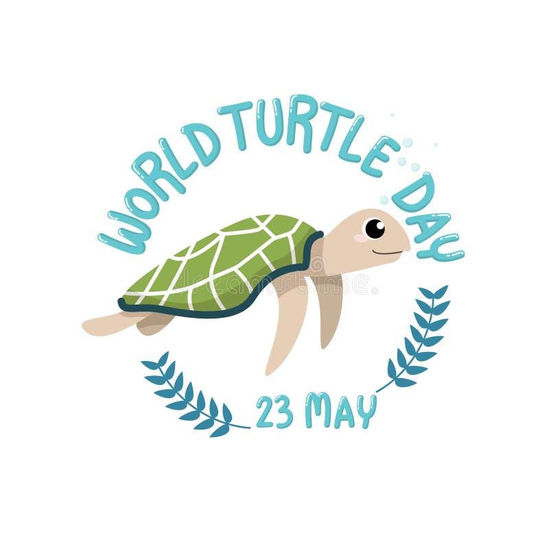ДЕНЬ ЧЕРЕПАХИ МИРА, 23-ье мая логотип с мультфильмом милой черепахи с днем черепахи мира текста, 23-ье мая в круге бесплатная иллюстрация