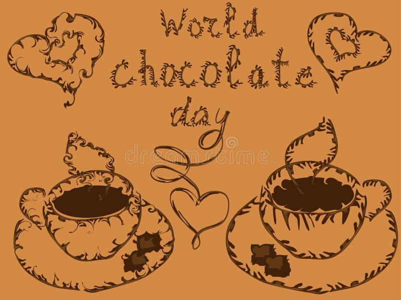 День шоколада мира Плакат с надписью и элегантной чашкой горячего шоколада бесплатная иллюстрация