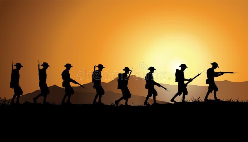 День Anzac, австралийские солдаты Первой Мировой Войны бесплатная иллюстрация