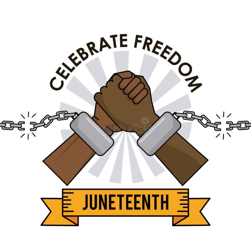 День Juneteenth празднует руки сломанные свободой цепные иллюстрация вектора