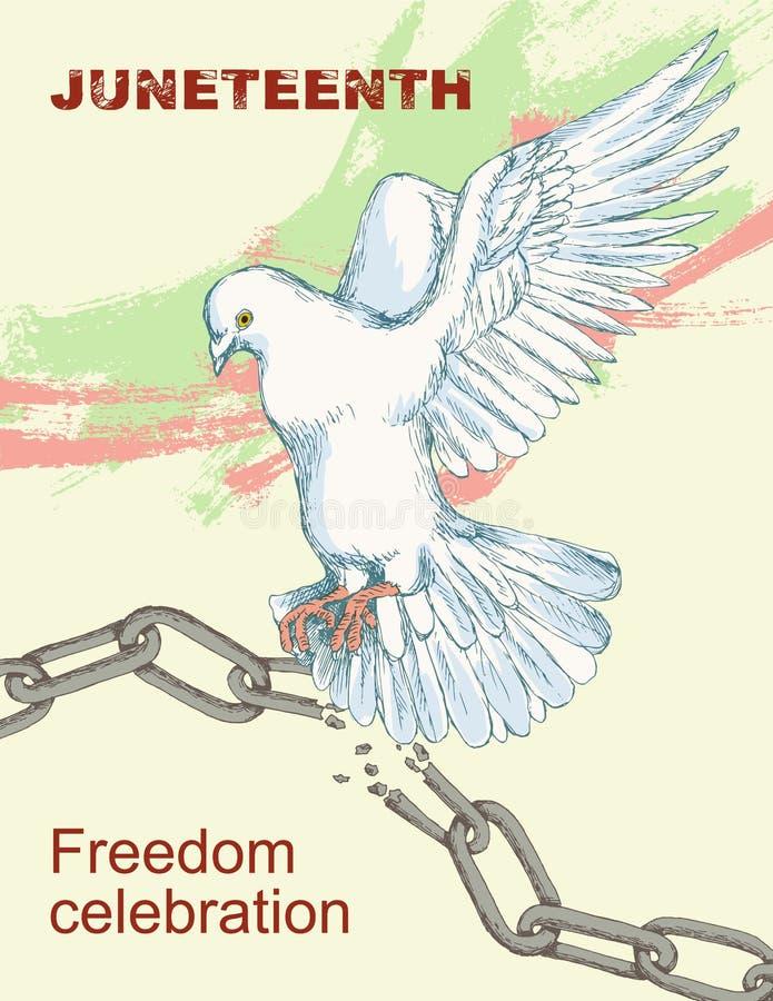 День Juneteenth Сломленная цепь и сережки Голубь, птица, символ мира и счастье, свобода Чертеж стиля эскиза руки Sl иллюстрация вектора