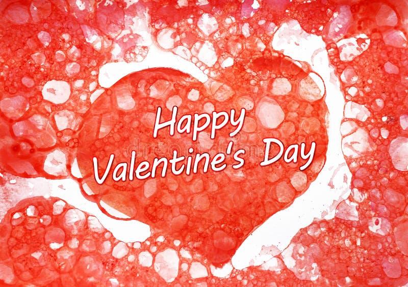 День ` s валентинки надписи счастливый на красном сердце акварели иллюстрация вектора