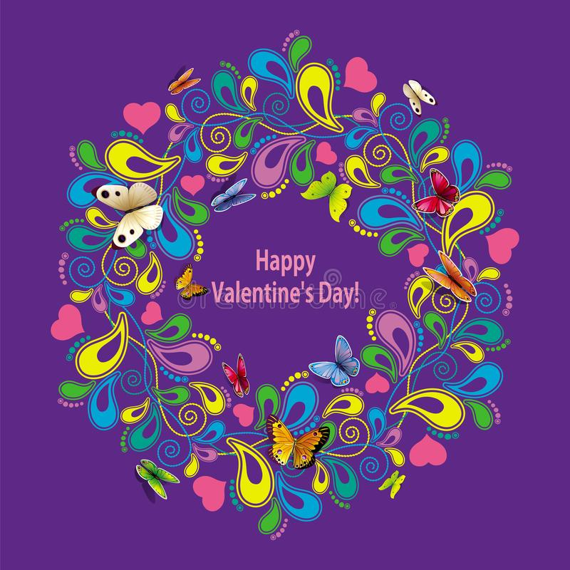 День ` s валентинки поздравительной открытки счастливый с флористическим орнаментом и но бесплатная иллюстрация