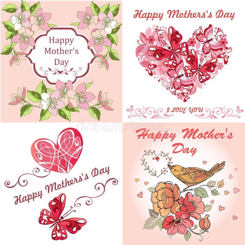 День ` s матери поздравительной открытки собрания счастливый День ` s матери открытки с весной цветет, бабочки иллюстрация вектора