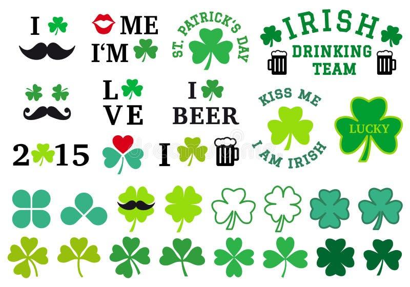 День St. Patrick, комплект клевера, вектор иллюстрация штока