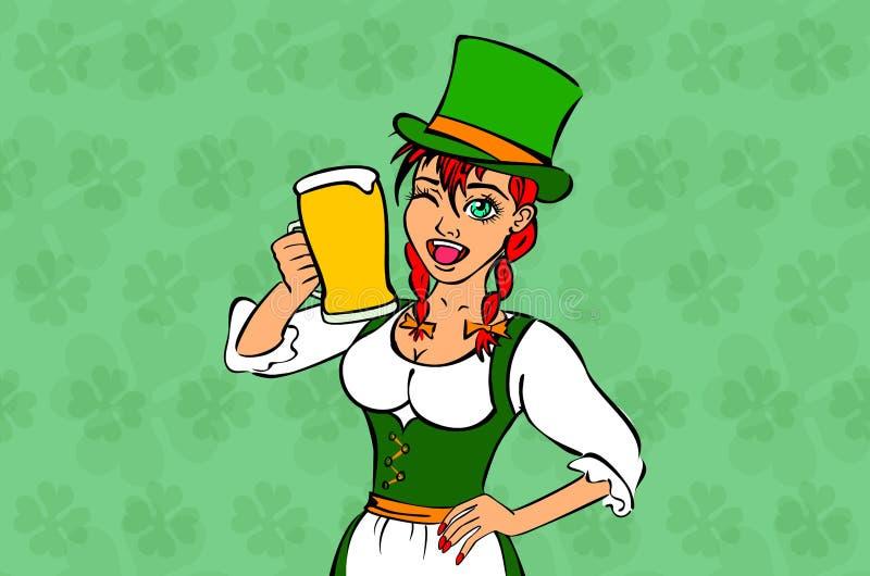 День St. Patrick костюма зеленого цвета эльфа девушки иллюстрация штока