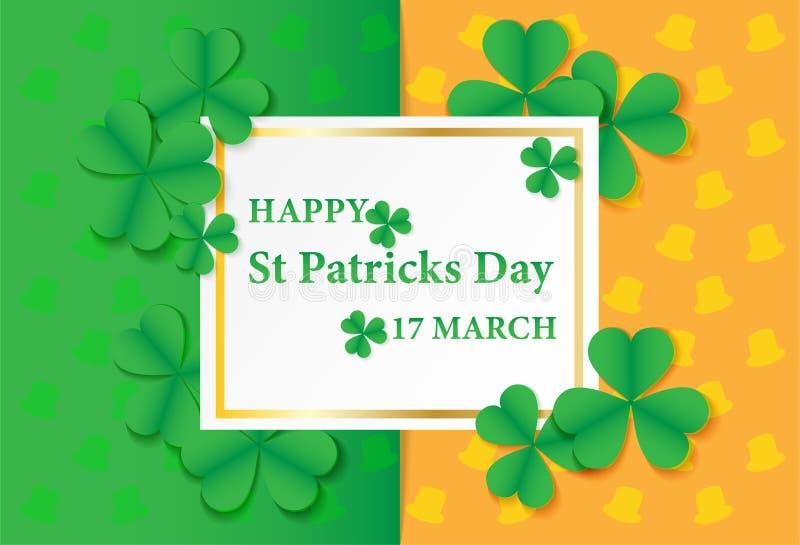 День St Patricks 17-ое марта счастливый Дизайн карточки с бумажным gre искусства иллюстрация штока