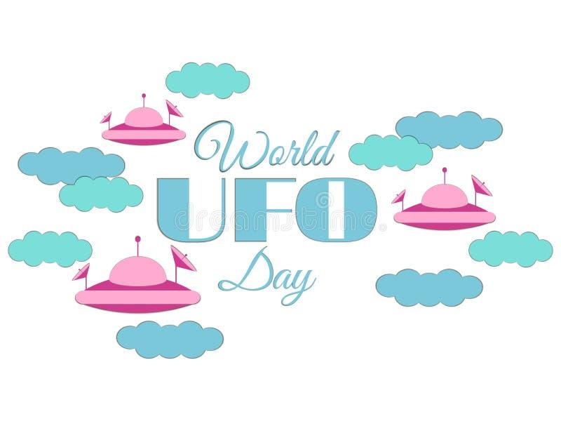 День UFO мира Бумажные облака и UFO летающей тарелки в облаках Летающая тарелка Значок UFO иллюстрация вектора