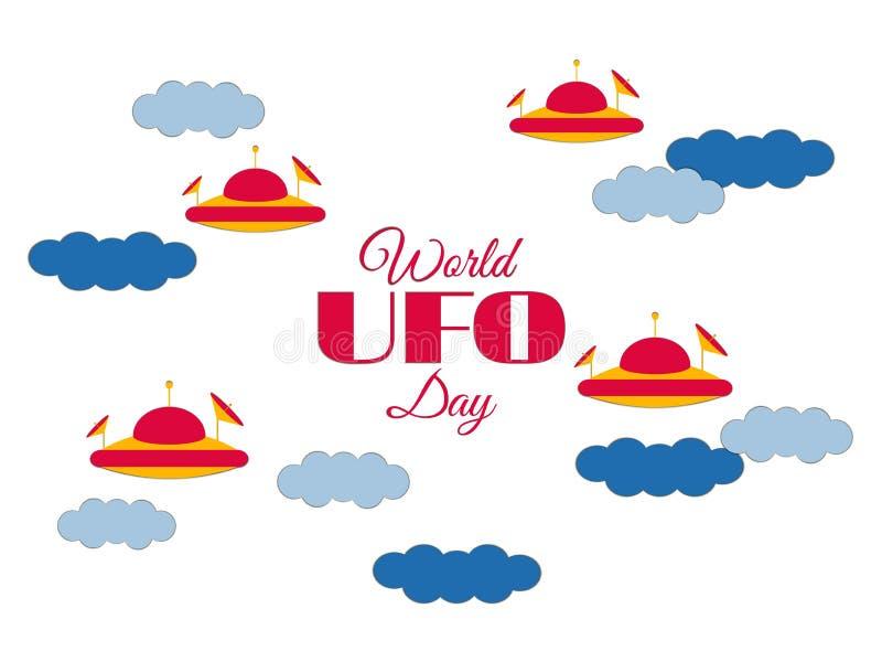 День UFO мира Бумажные облака и UFO летающей тарелки в облаках Летающая тарелка Вектор значка UFO иллюстрация штока
