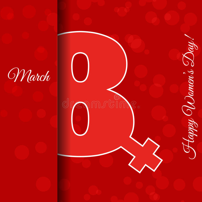День ve ` s женщин красного шаблона поздравительной открытки 8-ое марта международный стоковая фотография rf