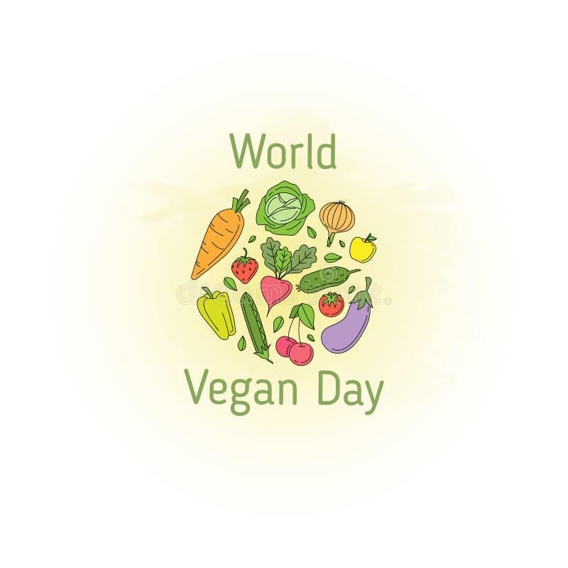 День vegan мира иллюстрация штока