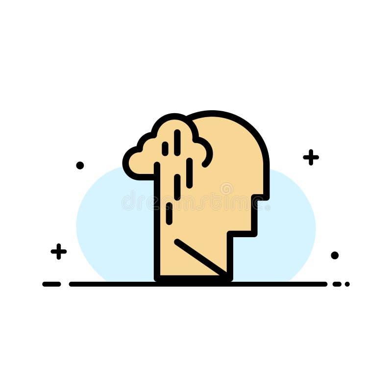 Депрессия, печаль, линия человеческого, меланхоличного, грустного дела плоская заполнила шаблон знамени вектора значка бесплатная иллюстрация