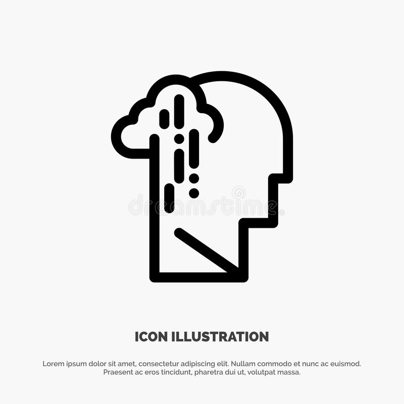 Депрессия, печаль, человеческая, меланхоличная, грустная линия вектор значка бесплатная иллюстрация
