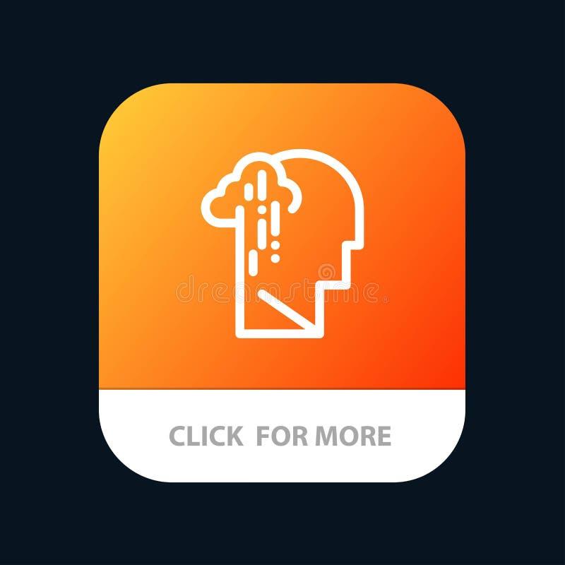 Депрессия, печаль, человеческая, меланхоличная, грустная мобильная кнопка приложения Андроид и линия версия IOS иллюстрация вектора