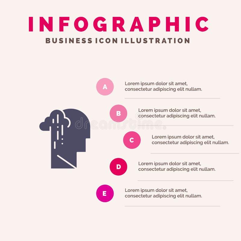 Депрессия, печаль, человеческая, меланхоличная, грустная твердая предпосылка представления шагов Infographics 5 значка иллюстрация штока