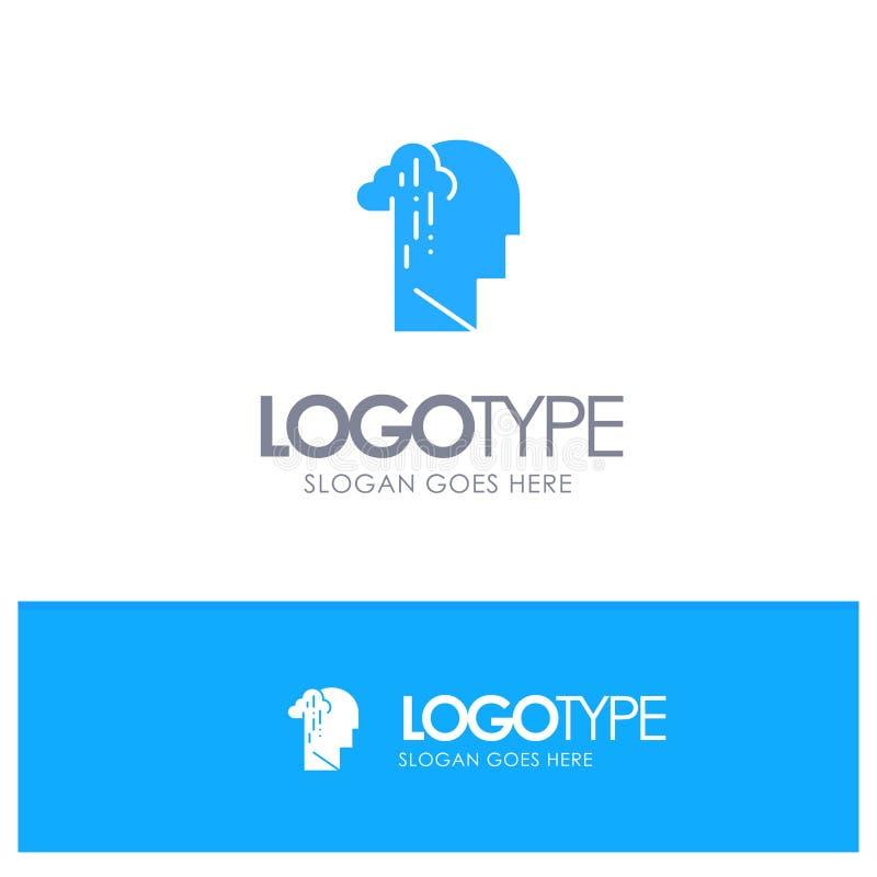 Депрессия, печаль, человеческий, меланхоличный, грустный голубой твердый логотип с местом для слогана иллюстрация вектора