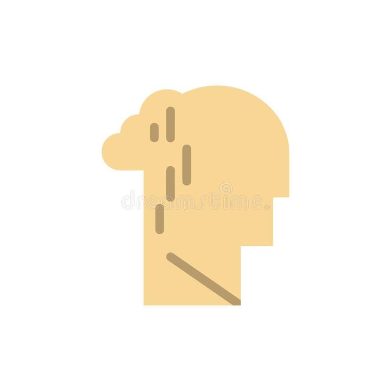 Депрессия, печаль, человеческий, меланхоличный, грустный плоский значок цвета Шаблон знамени значка вектора иллюстрация штока
