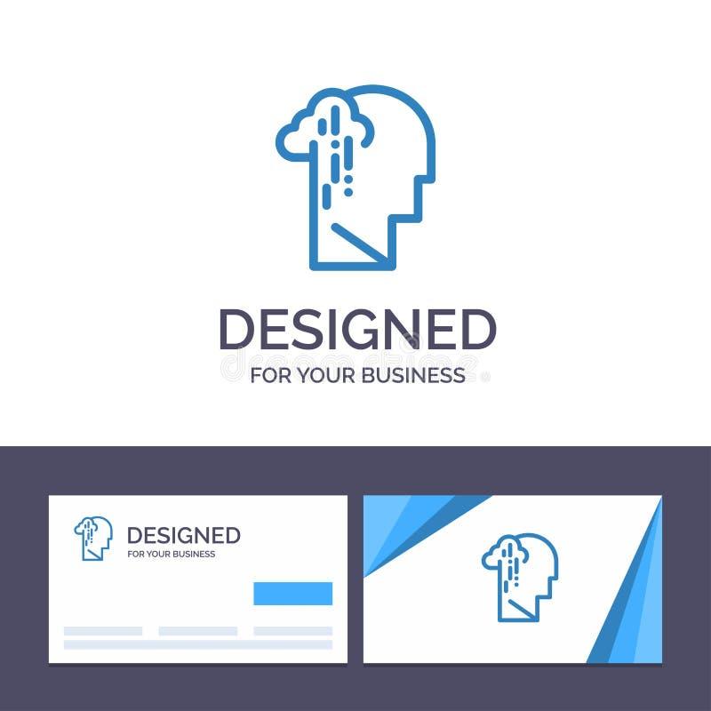 Депрессия творческого шаблона визитной карточки и логотипа, печаль, человеческая, меланхоличная, грустная иллюстрация вектора иллюстрация штока