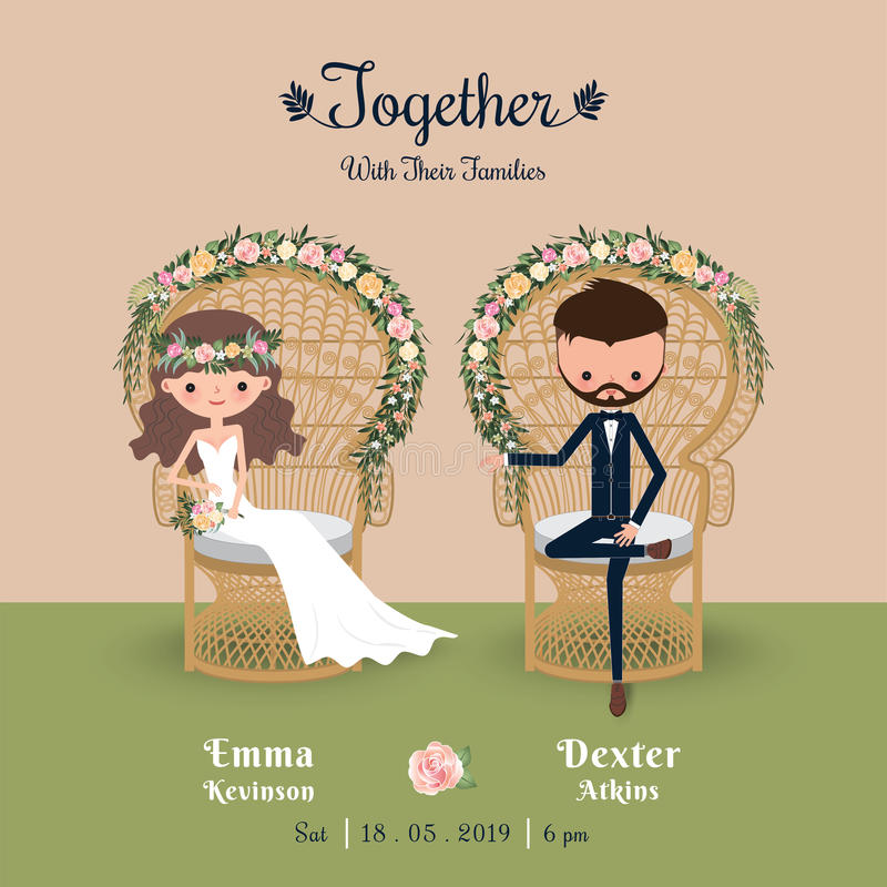 Деревенская богемская карточка приглашения свадьбы пар шаржа бесплатная иллюстрация