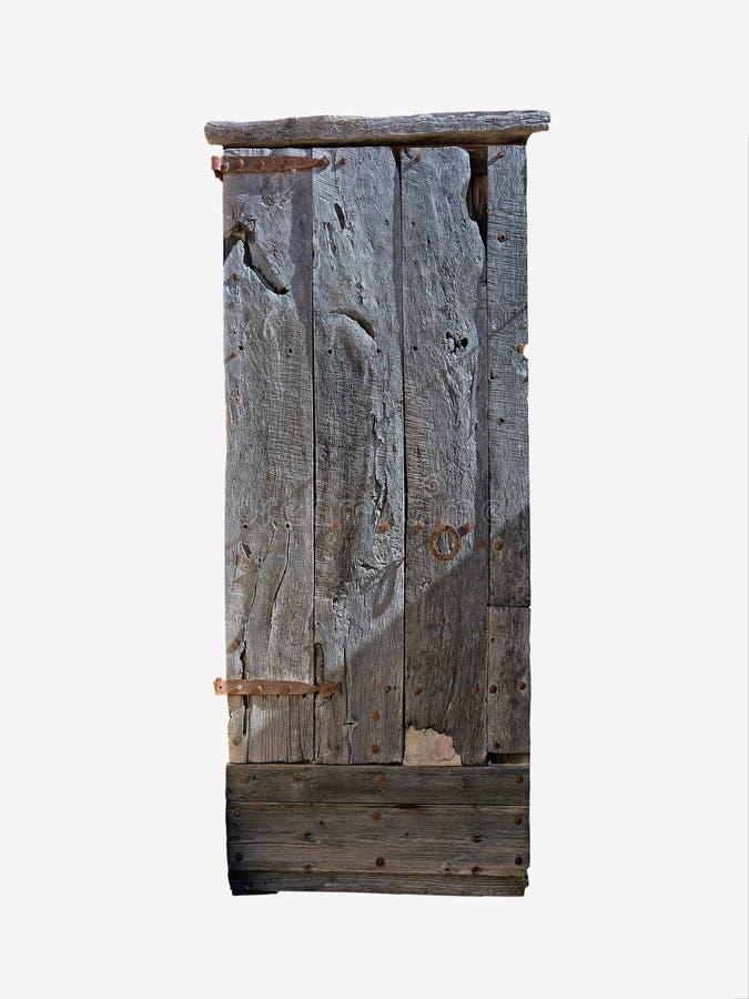 Деревенская деревянная дверь изолированная на белизне стоковые фотографии rf