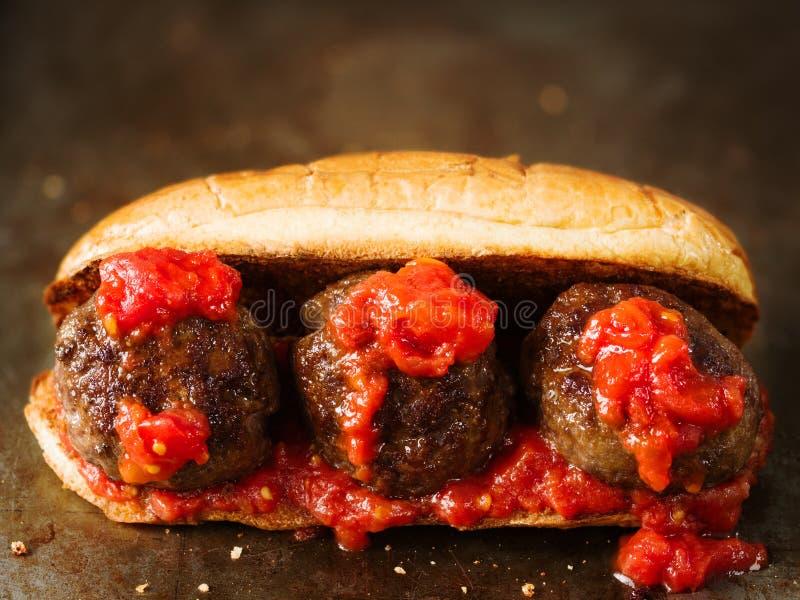Деревенский американский итальянский сандвич фрикадельки стоковые фотографии rf