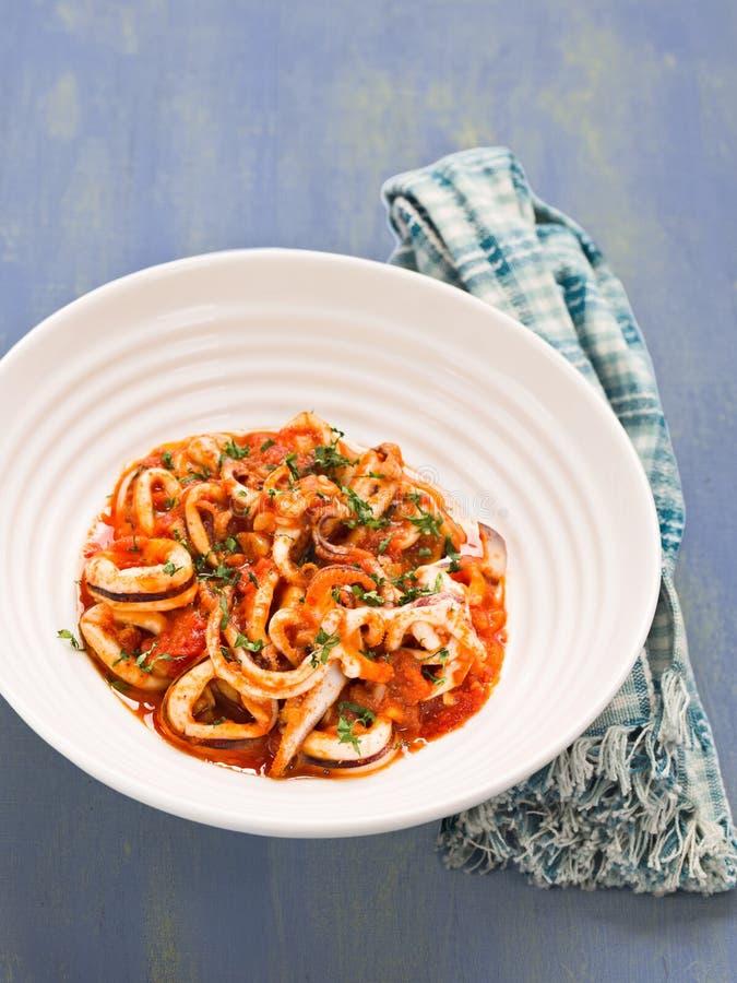 Деревенский итальянский calamari в пряном томатном соусе стоковое фото