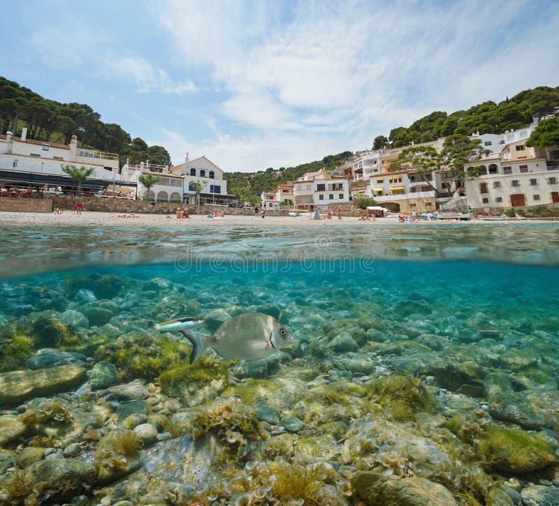 Деревня берега пляжа Испании среднеземноморская с рыбами стоковые фото