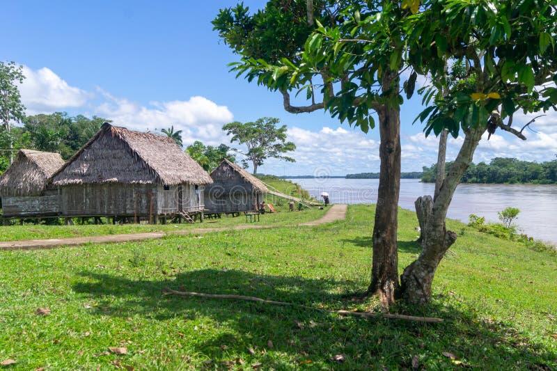 Деревня в джунглях Амазонки стоковая фотография rf