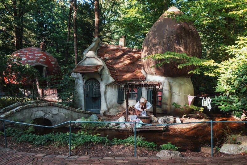 Деревня гнома с домами гриба в передней части сказки стоковое изображение