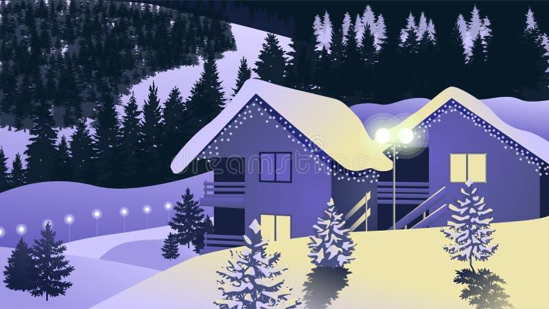 Деревня зимы предпосылки вектора стоковые изображения rf